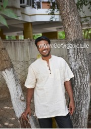 Men's Half Sleeve Short Kurta with Block print accents