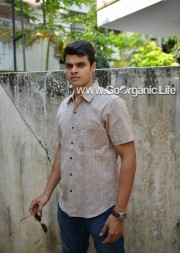Men's Half Sleeve Plain  Slim fit Shirt -Brown